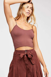 Free People Bra Seamless Skinny Strap Brami Chocolate