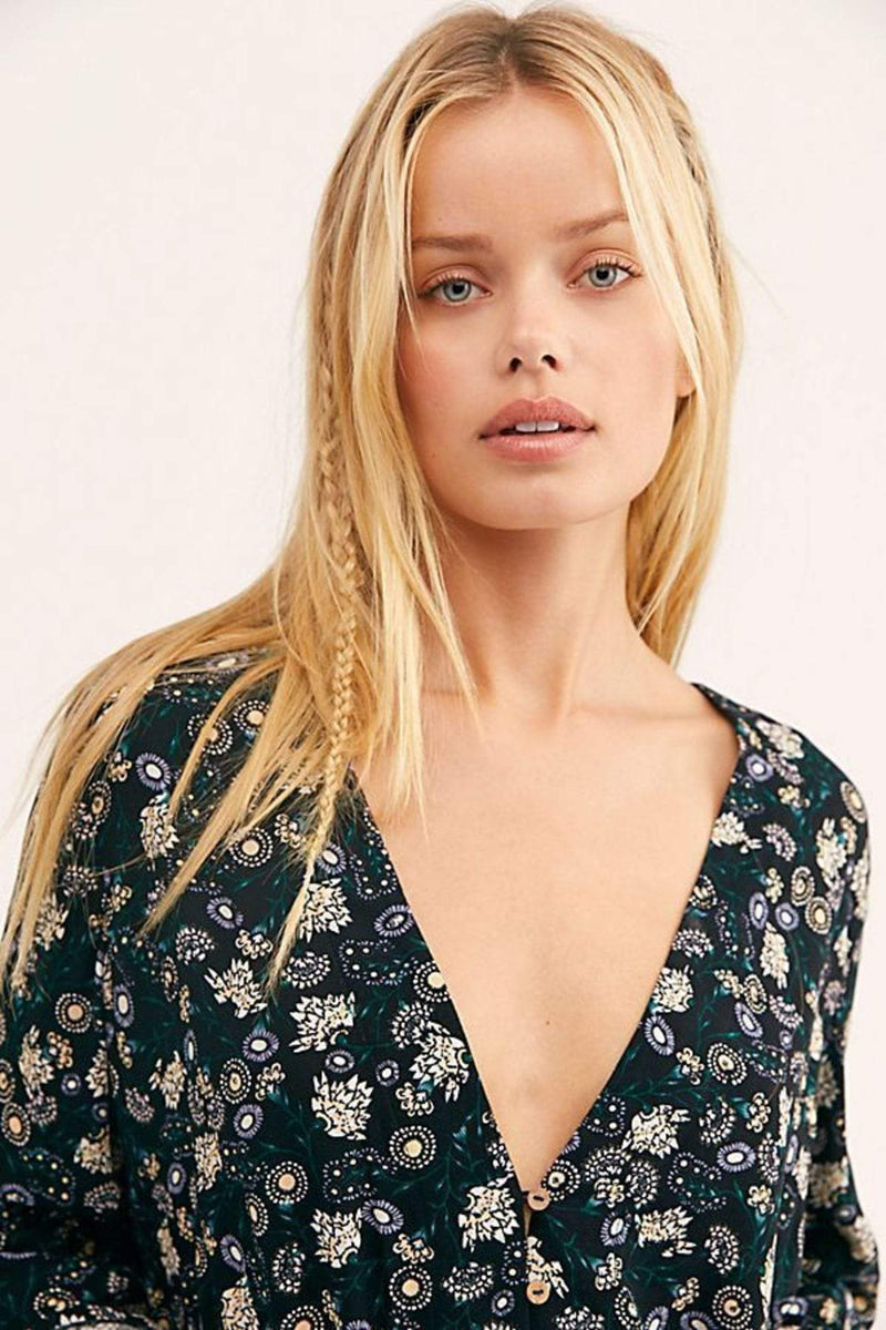 Free People Bra She's Dainty Bodysuit Black Multi