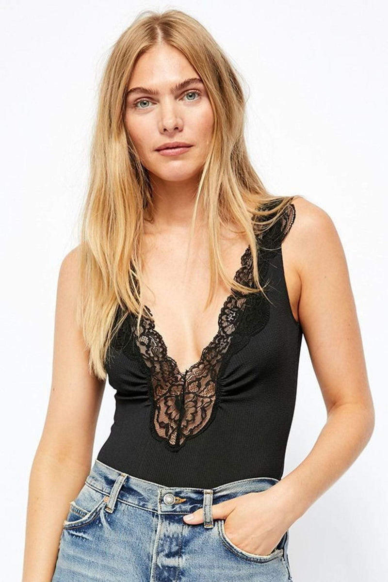 Free People Bra Small / Black / OB1097654 First Call Bodysuit Black