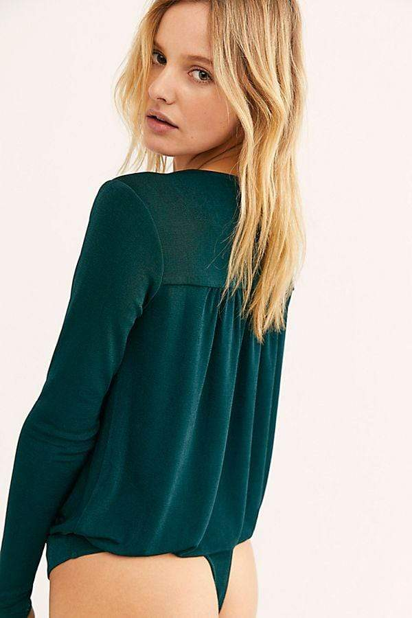 Free People Bra Turnt Bodysuit Pine