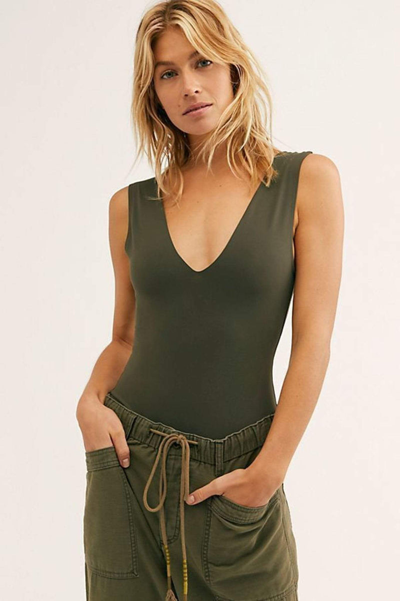Free People Bra X Small / Army / FP181214 Keep It Sleek Bodysuit Army