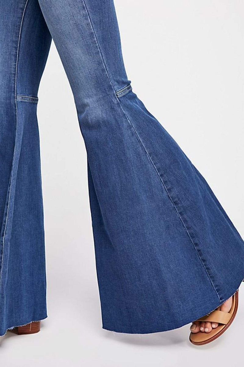 Just Float On Flare Jean Dark Blue
