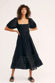 Free People Dress Let's Be Friends Midi Dress Black