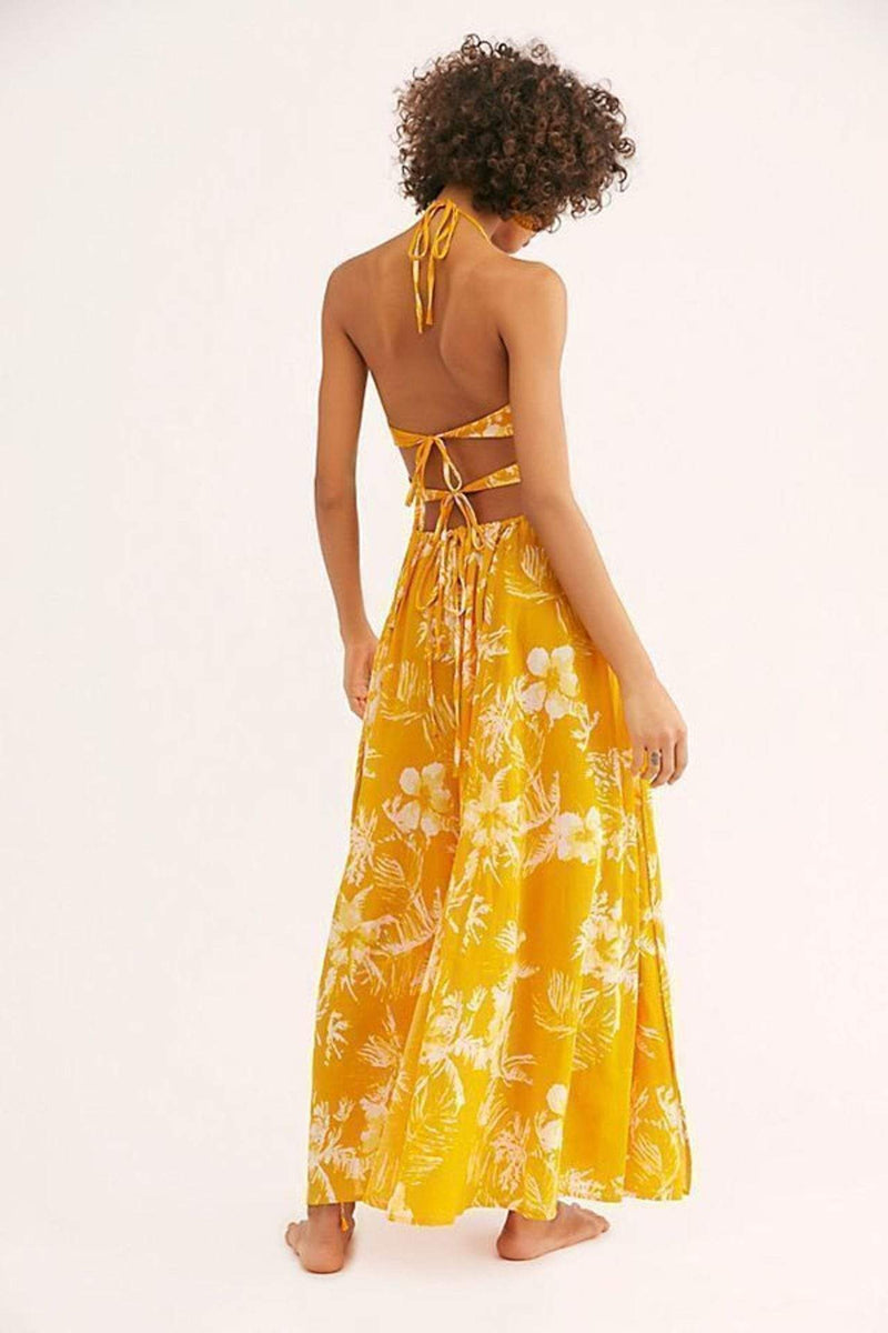 Free People Dress Lille Printed Maxi Dress Yellow