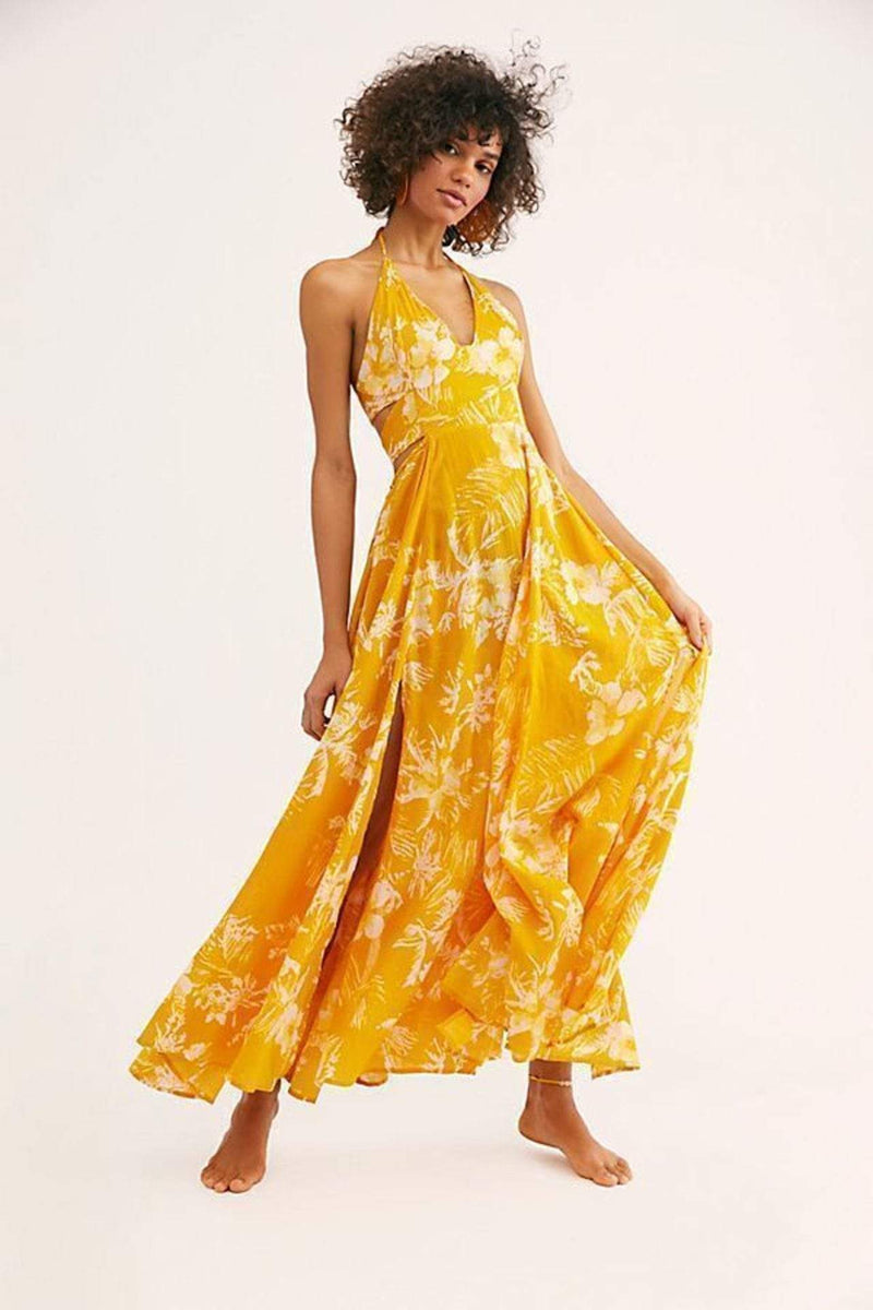 Free People Dress Small / Yellow / OB991354 Lille Printed Maxi Dress Yellow