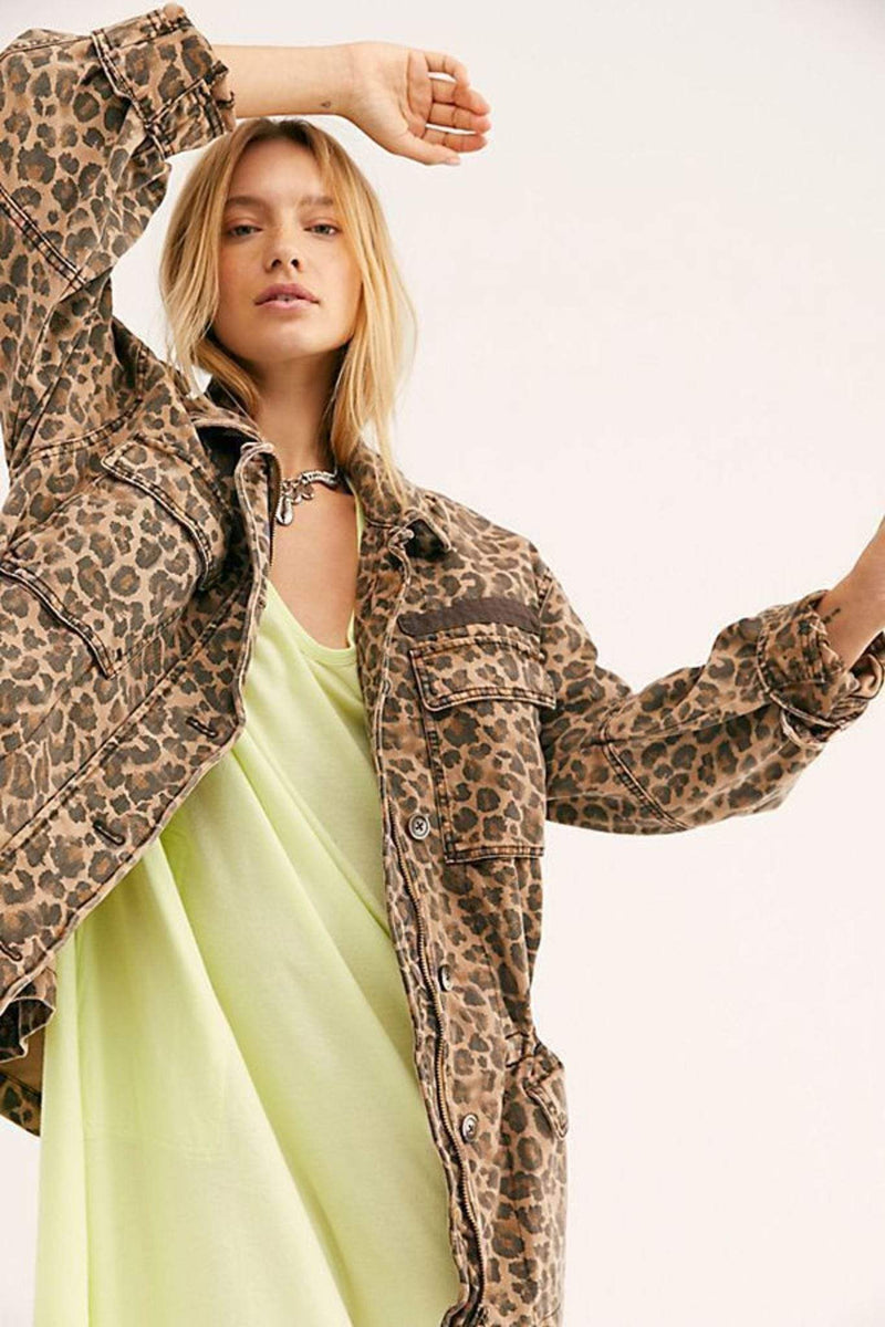 Free People Jacket Medium / Multi / OB980139 Seize The Day Leopard Jacket Multi