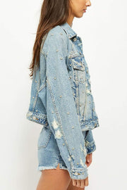 Free People Jacket Night After Night Denim Jacket Light Blue