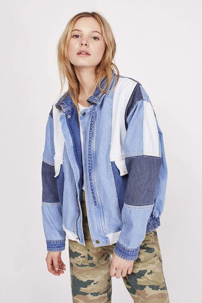 Free People Jacket Panel Denim Bomber Jacket Indigo Blue