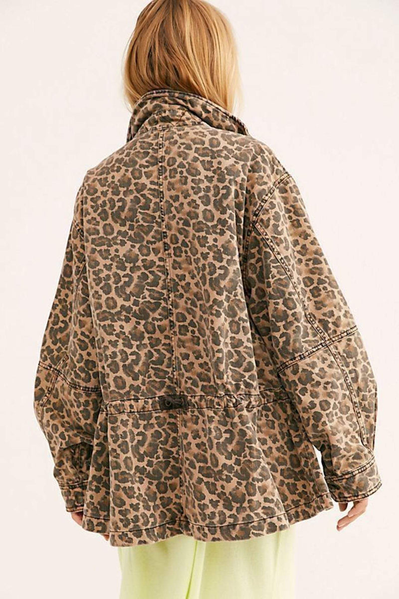 Free People Jacket Seize The Day Leopard Jacket Multi