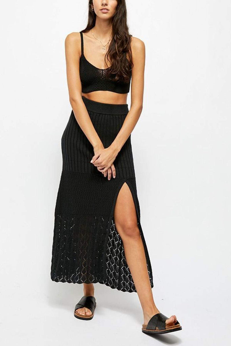 Free People Skirt Bari Column Skirt Black