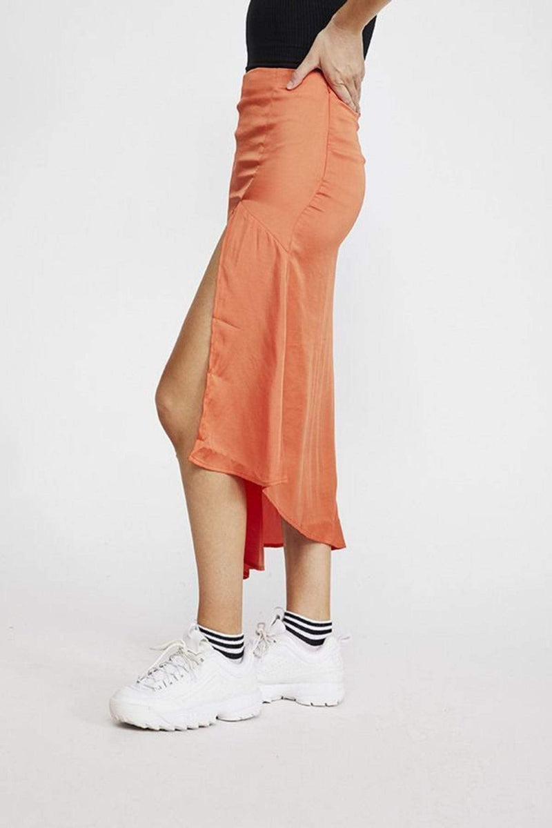 Free People Skirt Lola Slit Skirt Bright Orange