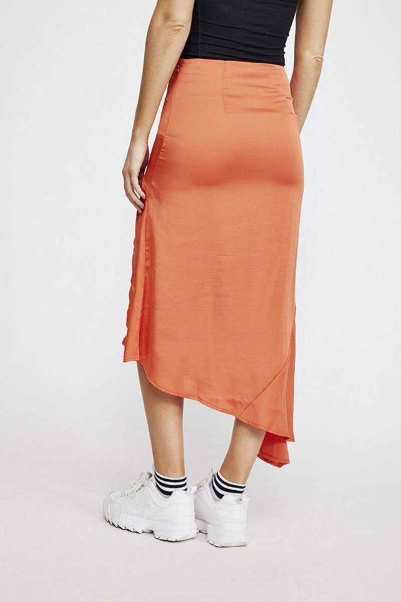 Free People Skirt Size 0 / Bright Orange / OB944057 Lola Slit Skirt Bright Orange