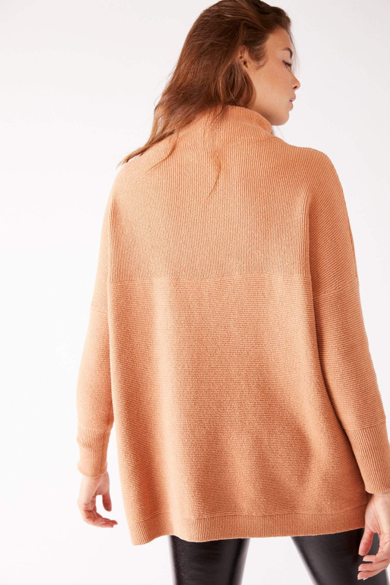 Free People Sweater Ottoman Slouchy Tunic Apricot