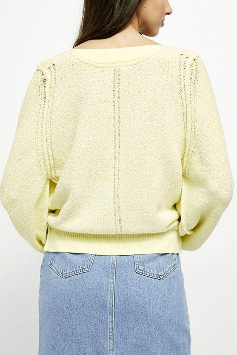 Free People Sweater Riptide V Neck Sweater Light Yellow