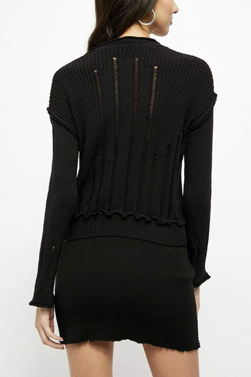 Free People Sweater Small / Black / OB1141372 Stevie Cardi Black