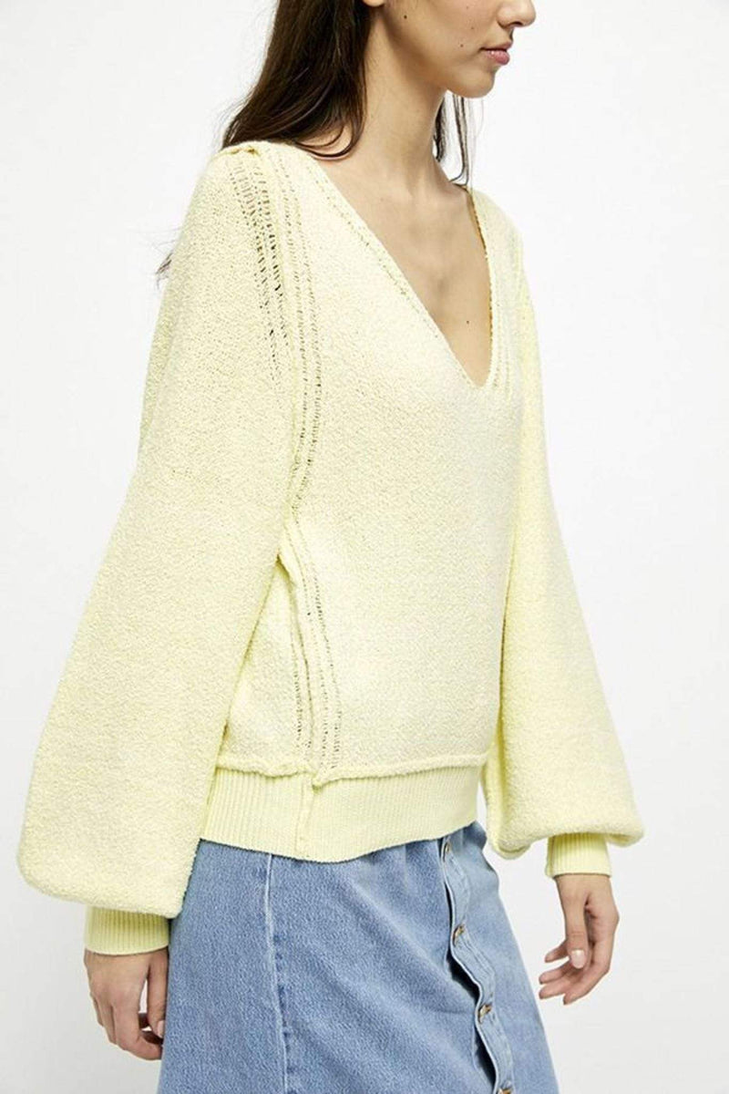 Free People Sweater X small / Light Yellow / OB1125680 Riptide V Neck Sweater Light Yellow