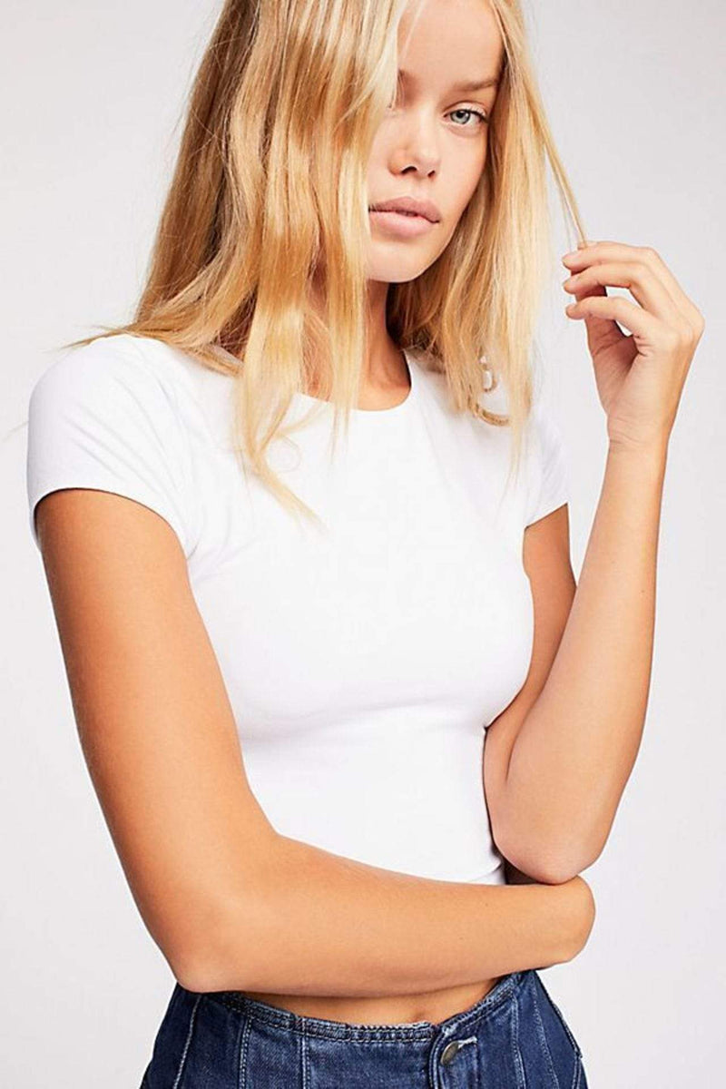 Free People Tee Casuals Seamless Cap Sleeve Crop Top White
