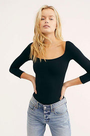 Free People Tee Casuals Square Neck 3/4 Sleeve Crop Top Black