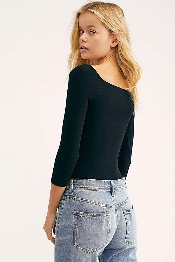 Square Neck 34 Sleeve Crop Top Black
