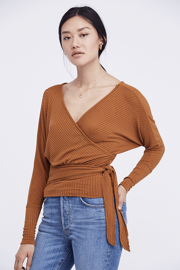 Free People Tops Blouse East Coast Wrap Top Copper
