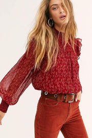 Free People Tops Blouse Roma Floral Blouse Red