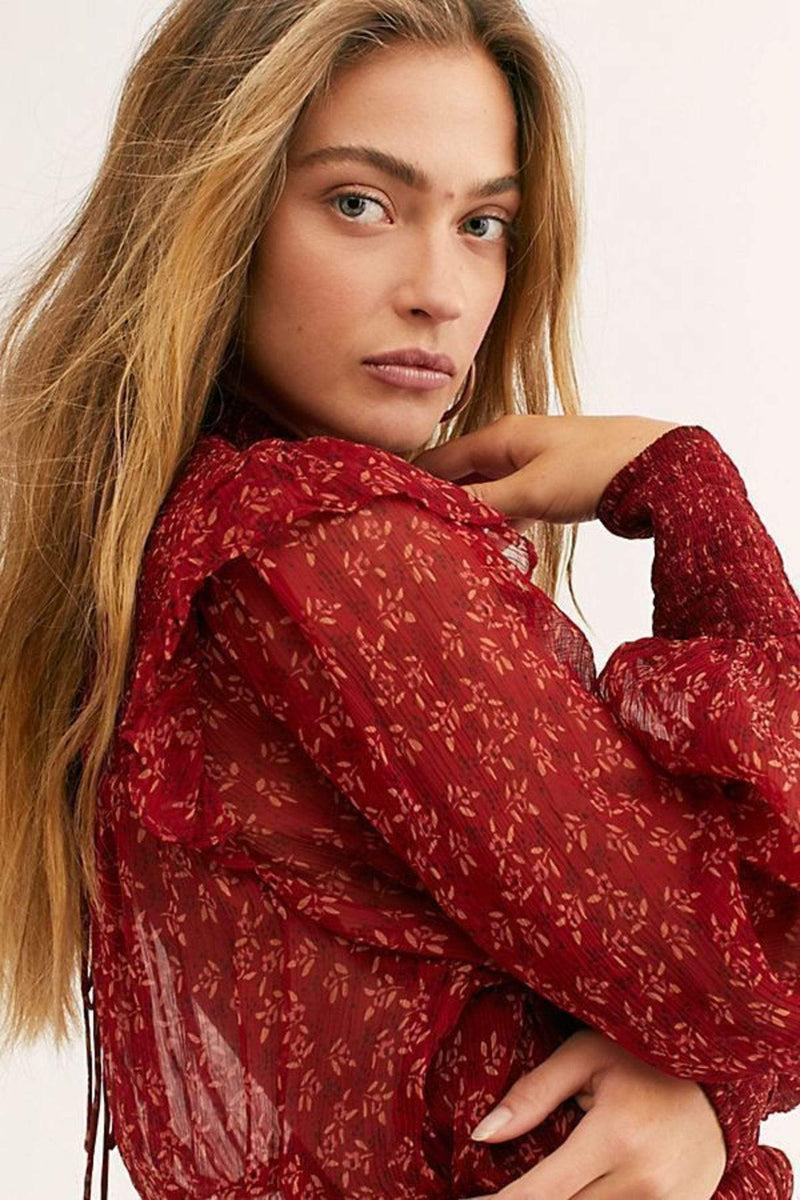 Free People Tops Blouse Small / Red / OB1069086 Roma Floral Blouse Red