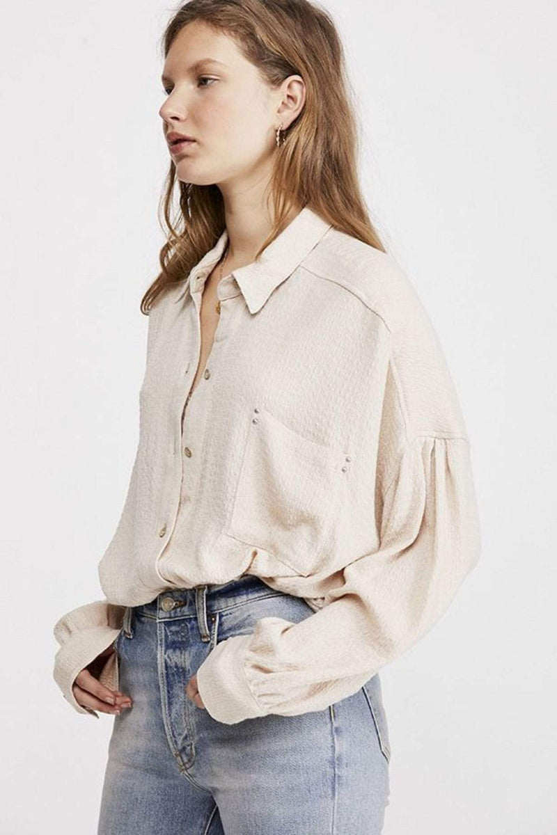 Free People Tops Blouse Solid Hidden Valley Buttondown Ivory