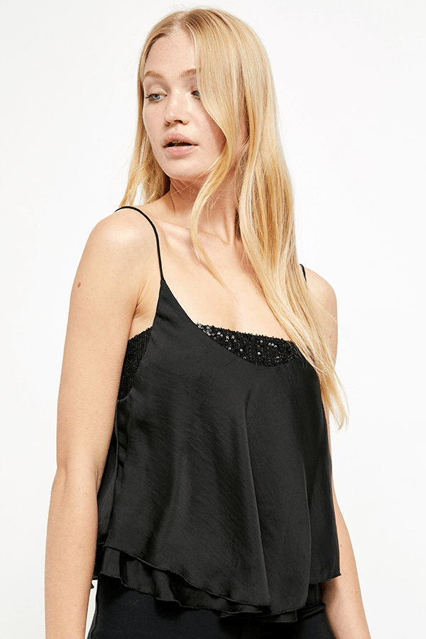 Turn It On Sequin Cami Black