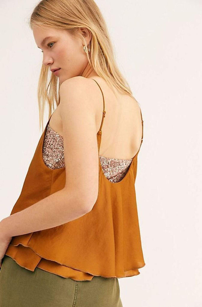 Turn It On Sequin Cami Gold