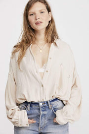 Free People Tops Blouse X Small / Ivory / OB1013618 Solid Hidden Valley Buttondown Ivory