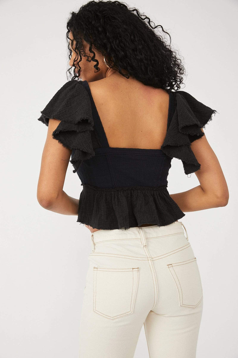 Free People Tops Blouses Day Dreaming Top Black
