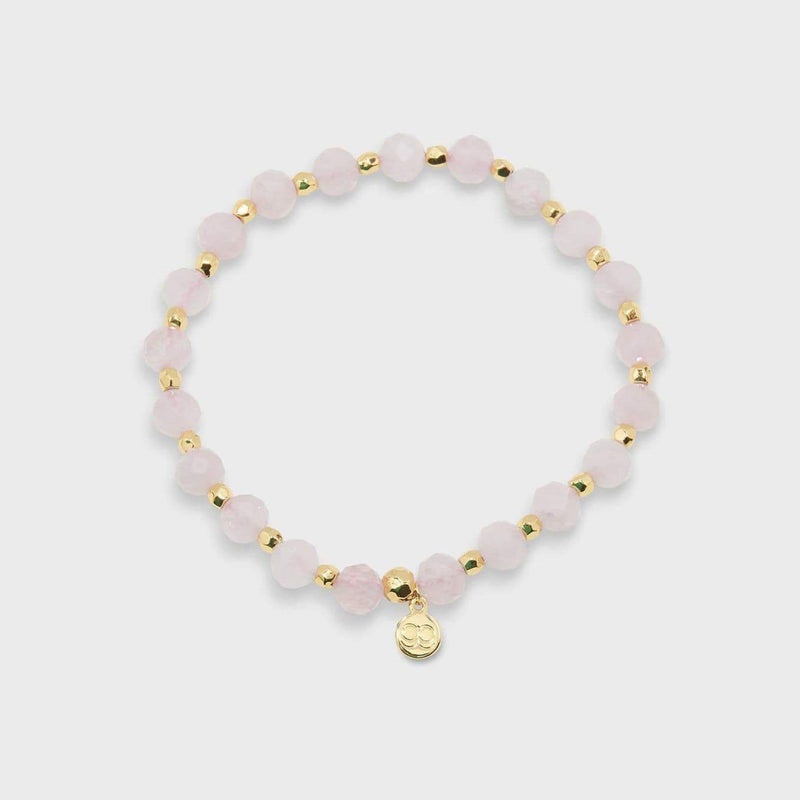 Love Power Gemstone Elastic Bracelet Rose QuartzGold