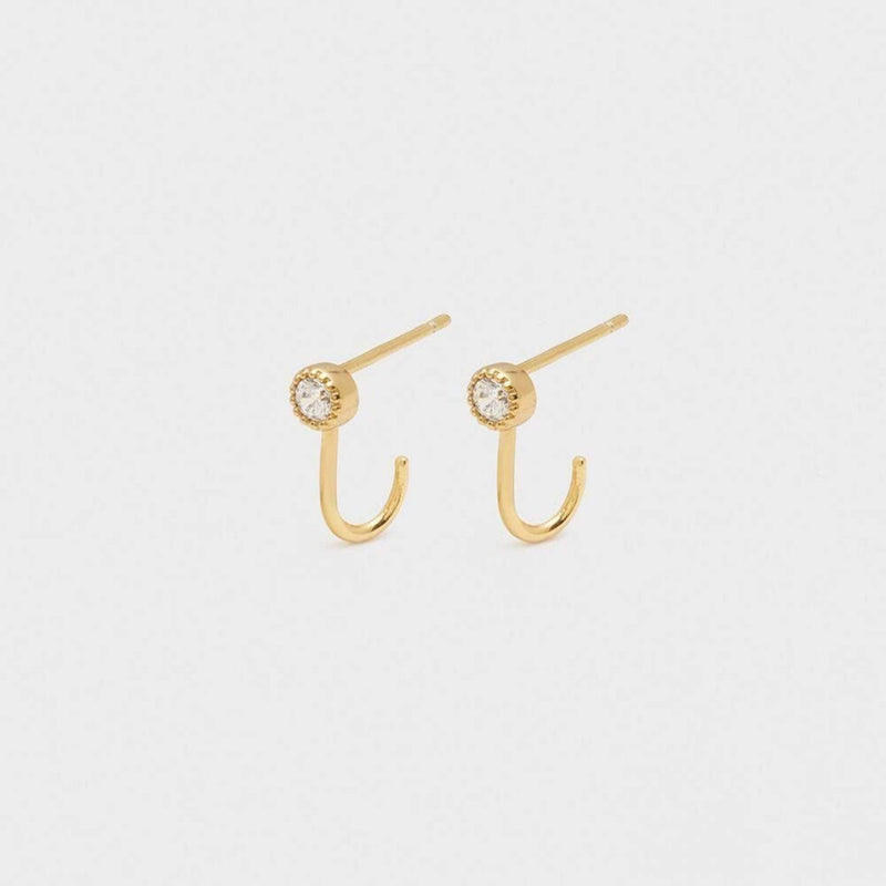 Gorjana Earring One Size / Gold / RE-193-013-02-G Madison Shimmer Solitaire Huggies Gold