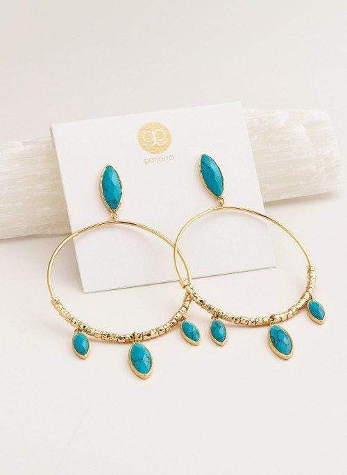 Gorjana Earring One Size / Turquoise/Gold / 183-001-67-G Palisades Drop Hoops TurquoiseGold