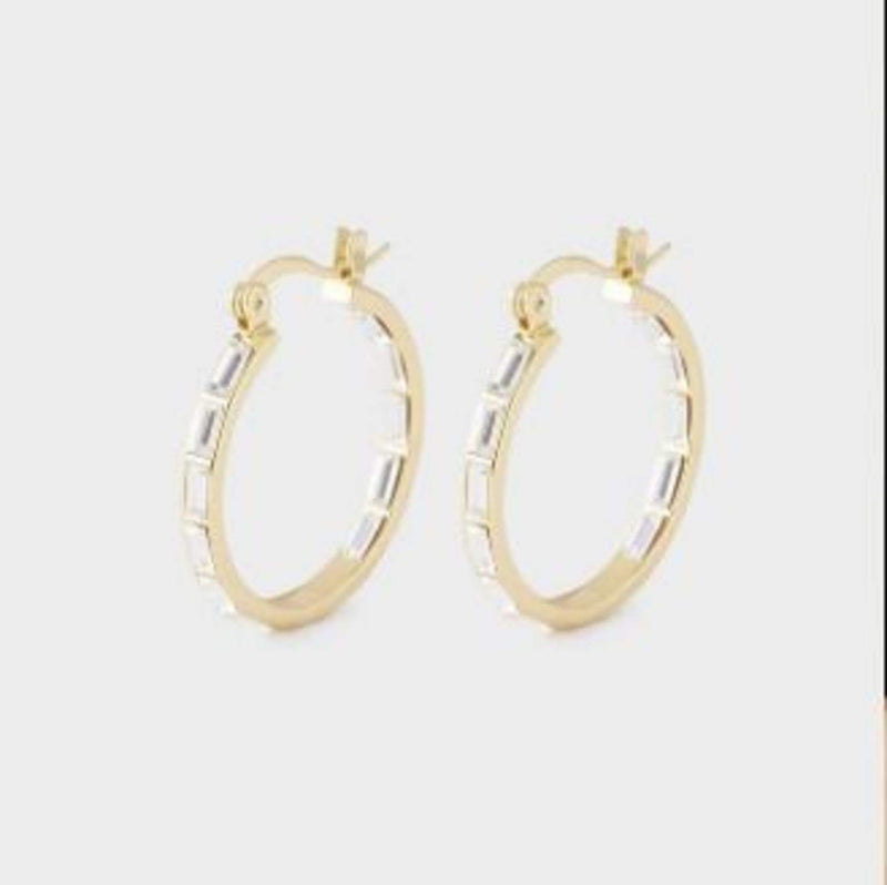 Desi Hoops Gold  White Crystal
