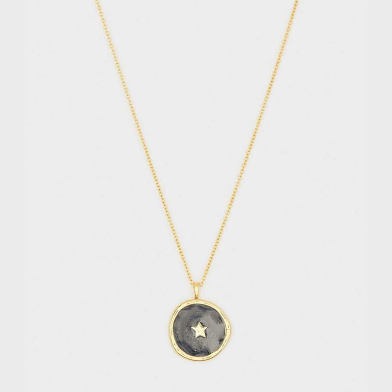 Star Coin Necklace Black PearlGold