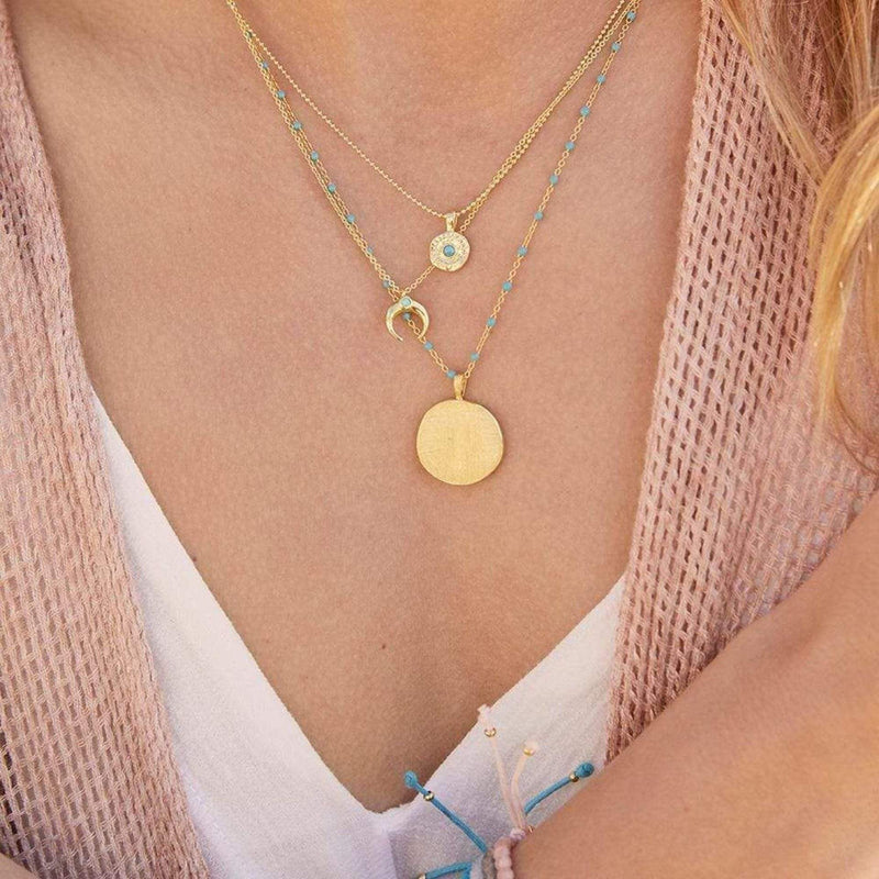 Cruz Coin Necklace Blue TurquoiseGold