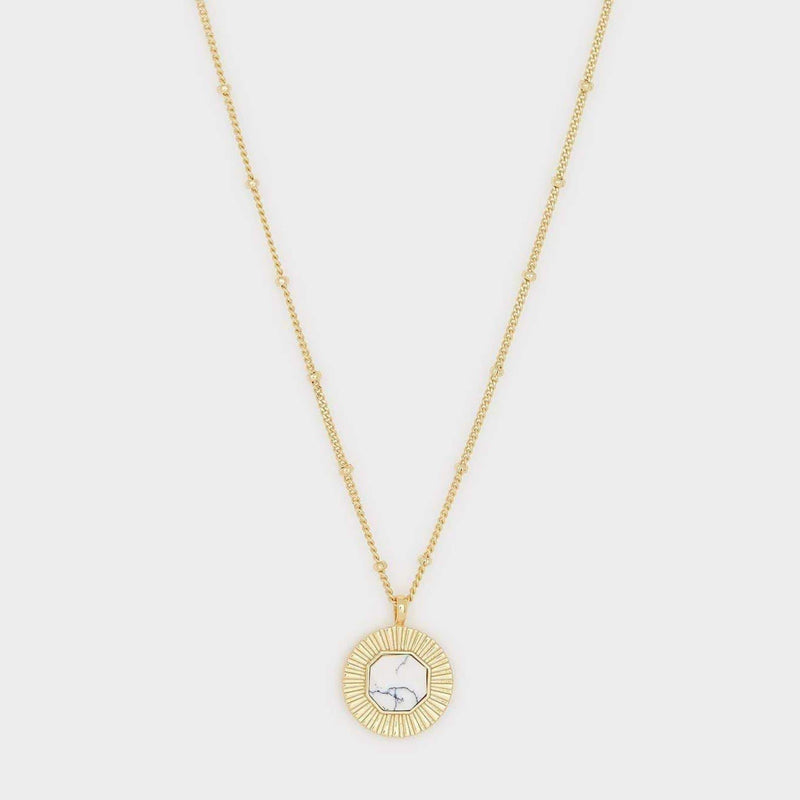 Gorjana Necklace One Size / Gold/ Howlite / 1911-124-31-G Calming Power Gemstone Coin Necklace Gold/ Howlite