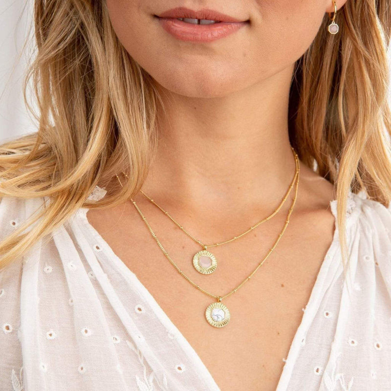 Calming Power Gemstone Coin Necklace Gold Howlite