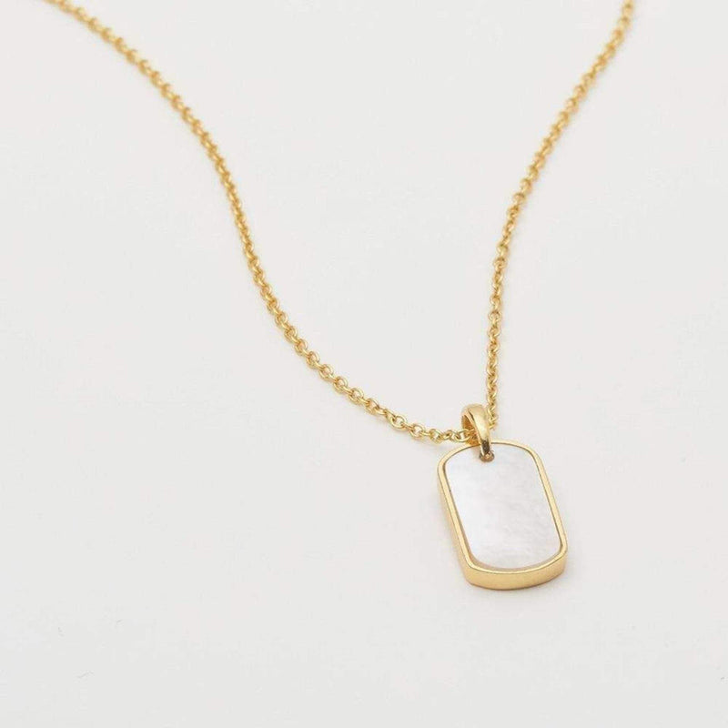 Griffin Gem Dog Tag Necklace Mother of Pearl Gold