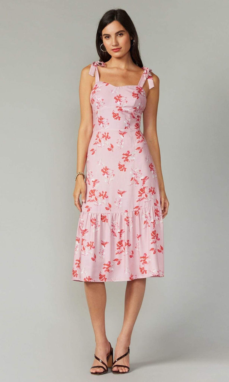 GREYLIN Dress Isabela Valentine Tie Shoulder Midi Dress Pink
