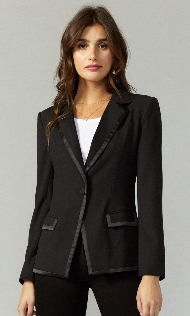 Grace Sateen Trimmed Blazer Black