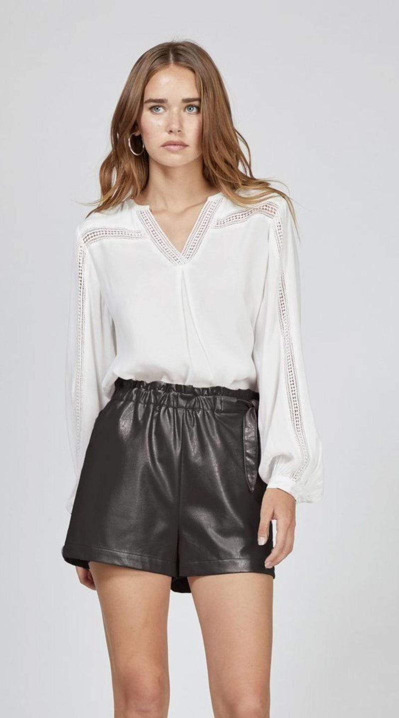 GWEN VEGAN LEATHER TIE WAIST SHORTS BLACK