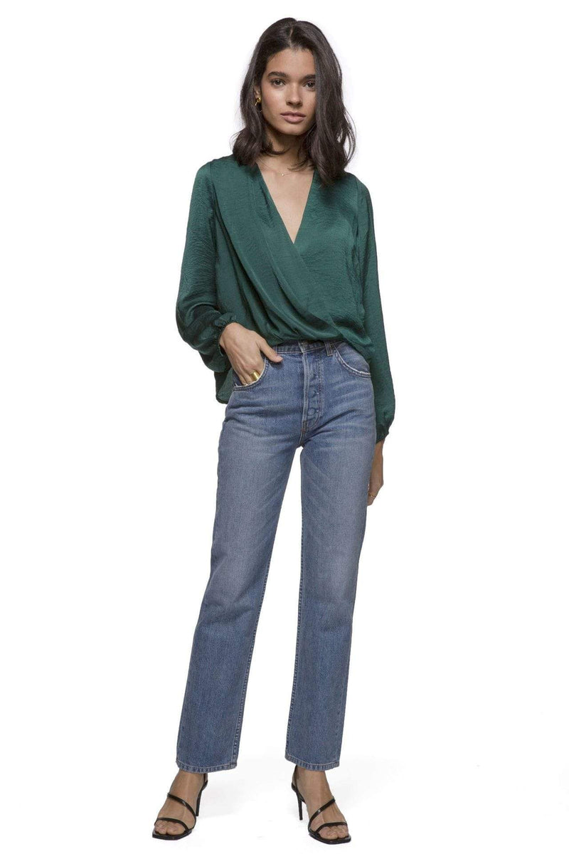 Anna Drape Front Top Emerald Green
