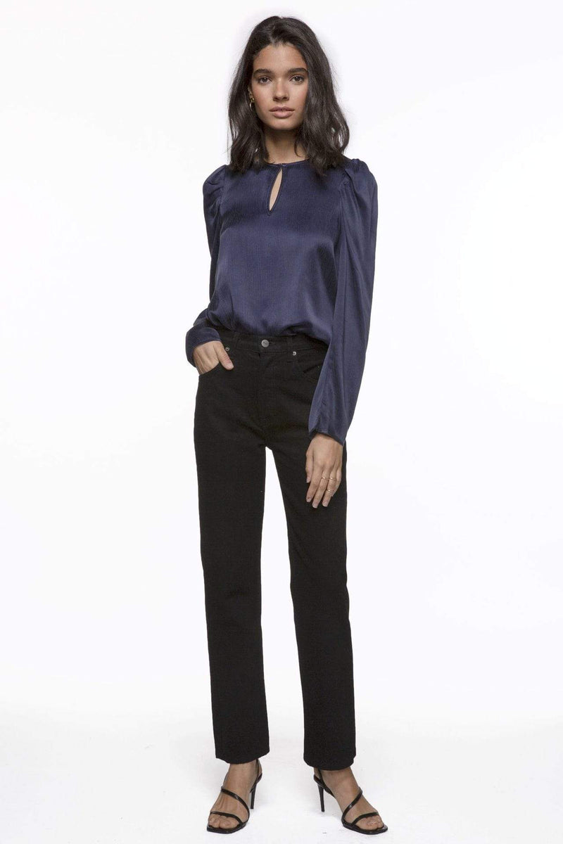 Ariana Pouf Sleeve Keyhole Top Washed Navy