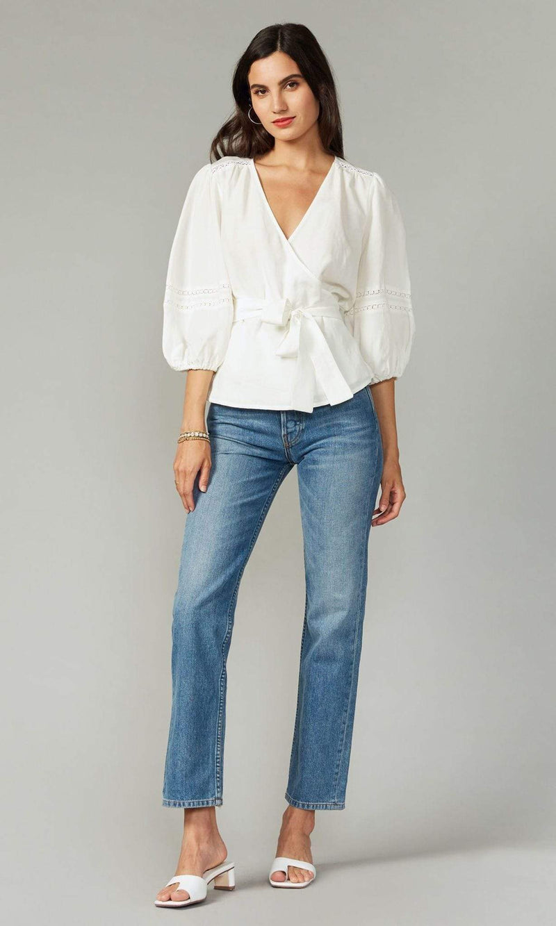 GREYLIN Tops Blouse Nuella Tencel Linen Wrap Top White