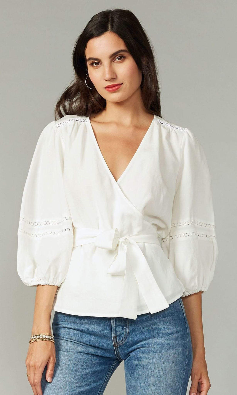 GREYLIN Tops Blouse X Small / White / G202T6199 Nuella Tencel Linen Wrap Top White