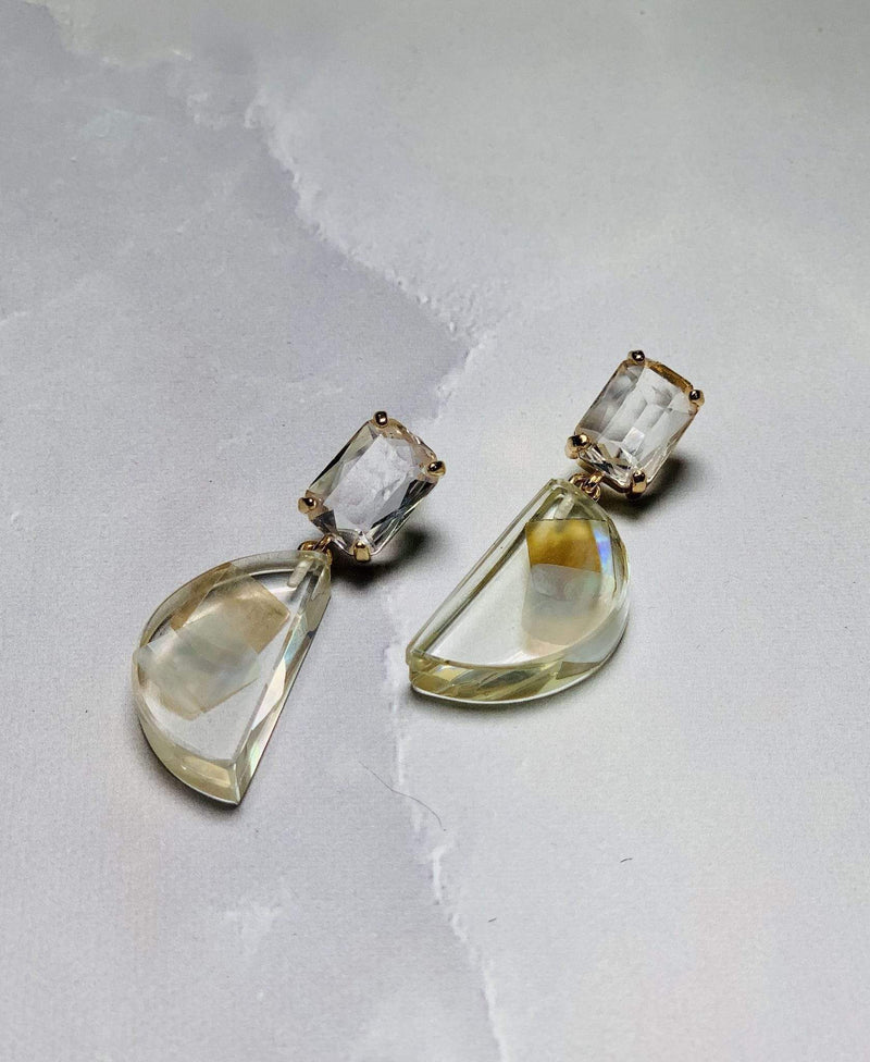 Crystal Resin Drop Earring ChampagneGold