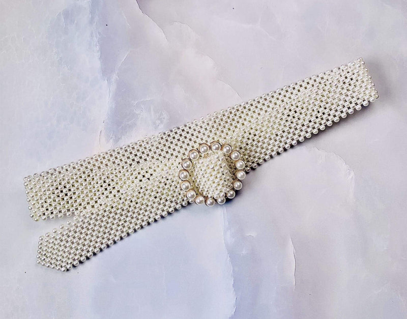 H&D Accessories Belts One Size / White / PB7802IV Astoria Pearl Beaded Belt Ivory