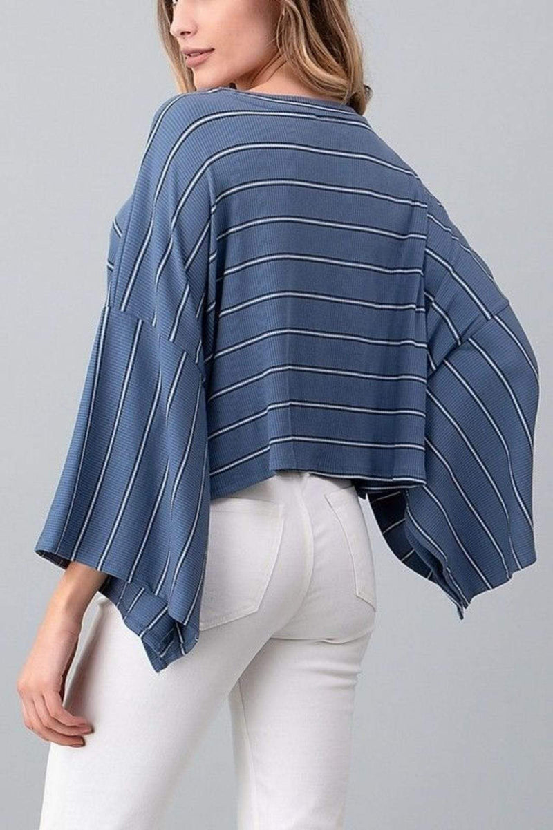 Joelle Wide Sleeve Knit Stripe Crop Top BlueBlack